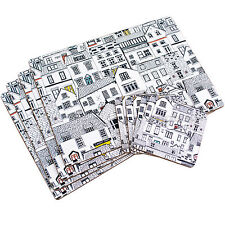 Set of 4 Coastal Houses Seaside Dining Table Placemats & Coasters Tablemats Mat