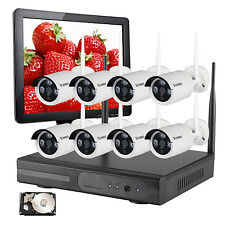 8CH Outdoor Wireless security camera System Weatherproof with 4TB HDMI Monitor