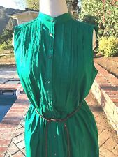 ZARA BASIC Cotton Blend Emerald Green Dress Size L Large Buttondown Belted CUTE!
