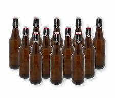 G. Francis Swing Top Bottles w/ Caps - 16.9oz, Amber Glass, Reusable, 12 pack