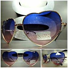 VINTAGE 80's RETRO Style HEART SHAPED SUN GLASSES Gold Frame Purple & Pink Lens