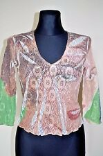 DESIGUAL NEW sz M TEENAGER TUNIC BLOUSE TOP STRETCH GUIPURE BOHO HIPPY Y-NECK