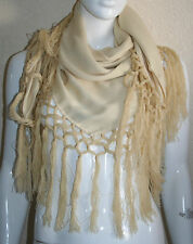 House of Fraser Therapy Womens Beige Square Tassle Fringes Scarf One Size New