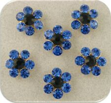 Beads Crystal Flowers w/Sapphire Swarovski Elements ~2 Hole Metal Sliders QTY 6