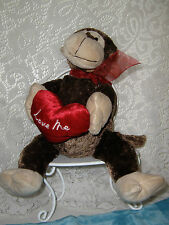 PLUSH BEANBAG MONKEY WITH LOVE ME HEART
