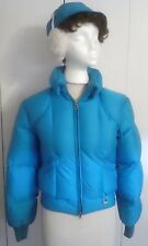 1980's Bogner Women's Goose Down Ski Jacket + Ear Muff Hat, Turquoise Size 6