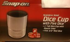 New ! Snapon Socket Shaped Dice Cup With 5 Dice Red Stainless Steel Collectible