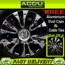 "15"" Black Chrome Sports Car Wheel Trims Hub Cap Covers+"