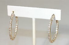 "eli k GOLD PLATE & CLEAR CRYSTALS INSIDE/OUT SMALL 1 1/3"" HOOP EARRINGS"