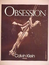 Obsession Perfume PRINT AD - 1991 ~~ naked on swing, Calvin Klein