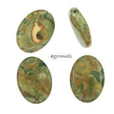 4 Natural Rhyolite Flat Oval Pendant Beads 18x25mm #85471