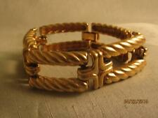 FAB VTG CHUNKY TWISTED ROPE RECTANGLES & FIGURAL RIBBED CROSSES GP LINK BRACELET