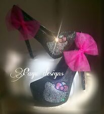 HELLO KITTY glitter black HEELS,Wedding, Party, Prom Sz 6-10