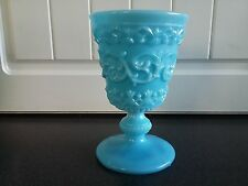 Victorian Blue Turquoise Milk Glass Goblet Antique 19th Century Unusual Shape