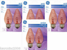 4 cards of GE Decorative Flame Shape Ceiling Fan Light Bulbs Amber color 25w