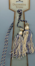 "SLATE BLUE CREAM CHAIR TIE 4"" TASSELS 22"" CORD SPREAD LOT OF 4 HOME DEC TRIM"