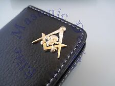 New3D Skull Masonic Master Mason Business Card or Dues Card Holder. Gold.