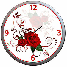 Novelty RED ROSES DECORATIVE FLORAL FLOWER WALL CLOCK