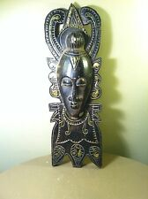 Vintage Hand Carving Wood Ornate Wall Decor Tribe Mask-African-Gold Paint Accent