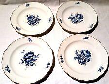 Meissen 4 Dessert Teller Reiche Blaue Blume Insekten Goldrand  Goldgräser 18cm