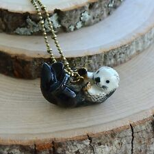 Hand Painted River Otter Necklace Antique Bronze Chain Ceramic Animal Charm
