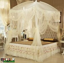 BED CANOPY SET Net, Curtain and Frame Set  /Light Yellow/ for all bed size