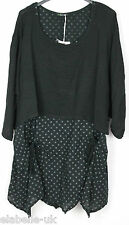 New Ladies Lagenlook Italian Asymmetric hem 2 Piece Spot Dress with Plain Shrug