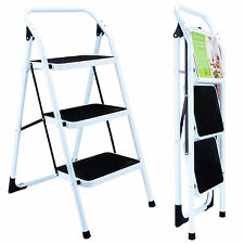 Portable Folding 3 Step Ladder Non Slip Safety Tread Stepladder Kitchen Home Use