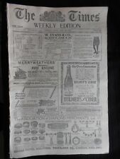 The Times (Weekly Ed) 1910 inc India/Egypt Unrest/Quiller Couch Serial Complete