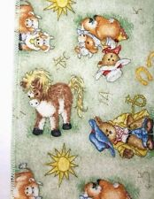 Vintage DOLLY Baby Blanket Cows Donkeys Horseshoes Cowboys Bears Farm Cotton
