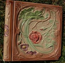 French Art Nouveau Depose Antique one TILE roses majolica bullnose
