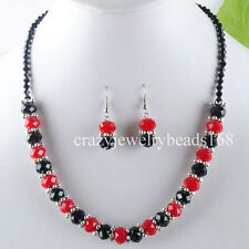 NEW Red Black Crystal Beads Necklace Earrings SET M300