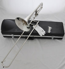 Quality Silver Bass Bb/F Key Trigger Trombone Horn cupronickel tuningpipe W/Case