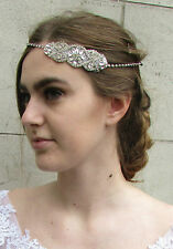 Silver Rhinestone Diamante Headband Bridal Headpiece Vintage 1920s Hair Band A85