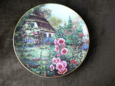 Franklin Mint Collector Plate:  Hollyhock Cottage, Country Garden Flowers
