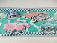 """Classic Vintage Cars Wallpaper Border Pink Teal NOS 9.72""""  Wide 16.4' per roll"""