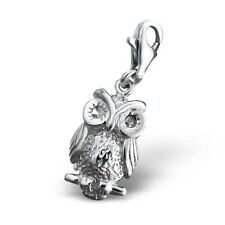 Quality 925 Sterling Silver Charm - Owl with CZ Lobster Clasp - Free Gift Box