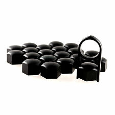 17mm Black Alloy Car Wheel Nuts Bolts Covers Caps For Any Car - Set of 20 pcs