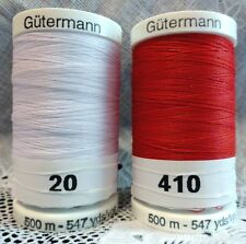 NEW White & Red GUTERMANN 100% polyester sew-all thread 547 yards Spools