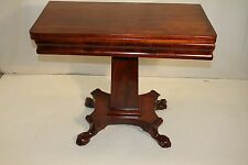 Antique Empire Solid Mahogany Game Card Table, 19th Century