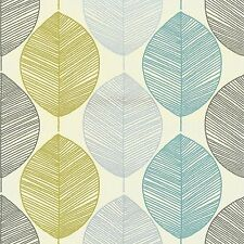 New Arthouse Retro Leaf Designer Motif Wallpaper in Teal and Green - 408207
