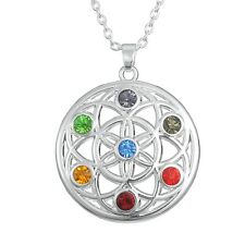 Flower of Life Chakra Crystal Pendant, Sacred Geometry, Reiki Healing Gift Ideas