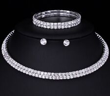 Wedding Bridal Choker 2 Row Set Necklace Earrings Bracelet Diamante Rhinestone