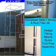 "DIY Scaffold Tower 6.9m (4' x 4' x 22'6"" WH) Galvanised Steel NOT Aluminium"