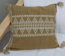 """New  Olive Green Wool  Cushion Cover 16 x 16"""" Ethnic design RRP £19"""