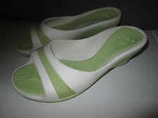 Women's CROCS Comfort Shoes Slip On Green White Wedge Sandals Heels Size 10