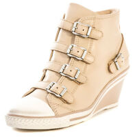Ash Genial Womens Leather Beige Wedges Trainers Zip New Shoes