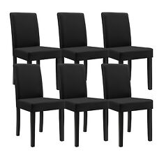 6x [en.casa] Chairs High back Dining room Chairs Black imitation leather Chair