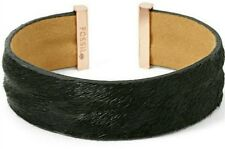 NEW FOSSIL BLACK CALF HAIR,ROSE GOLD TONE TIPS,FLEXIBLE OPEN BANGLE JA6272791