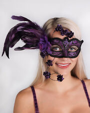 Very Elegant! Mardi Gras Mask! Theater! Costume! Masquerade Mask w/ Feathers